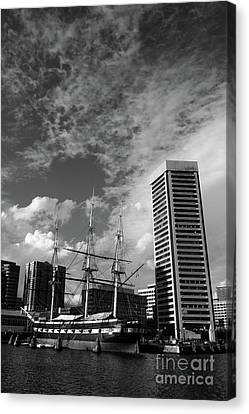 Uss Constellation And Inner Harbor In Monochrome Baltimore Canvas Print
