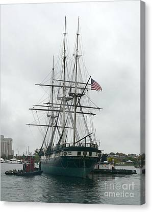 Uss Constellation In Baltimore's Inner Harbor Canvas Print by Celestial Images