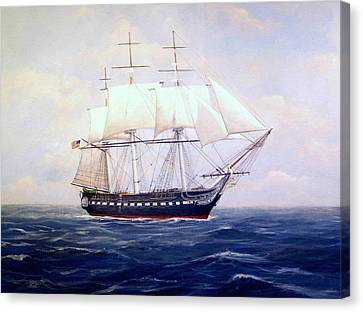 Uss Constitution Canvas Print by William H RaVell III