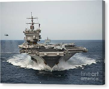 Uss Enterprise Transits The Atlantic Canvas Print by Stocktrek Images