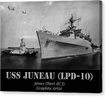 Beaches Canvas Print - Uss Juneau Lpd 10 by James Obert