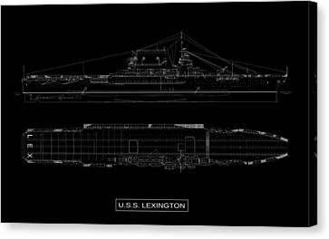 Uss Lexington Canvas Print by DB Artist