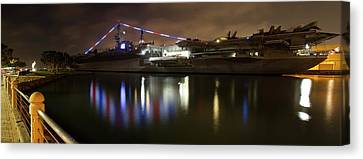 Canvas Print featuring the photograph Uss Midway At Night by Nathan Rupert