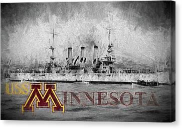 University Of Minnesota Canvas Print - Uss Minnesota by JC Findley