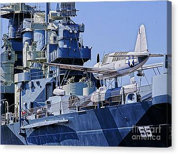 Uss North Carolina Observation Scout Aircraft Canvas Print by JW Hanley