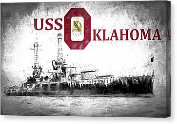 Uss Oklahoma Canvas Print by JC Findley