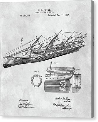 Uss Pocahontas Ship Illustration Canvas Print