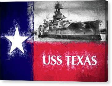 Uss Texas Flag Canvas Print by JC Findley
