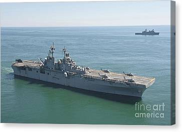 Uss Wasp And Uss San Antonio Transit Canvas Print by Stocktrek Images