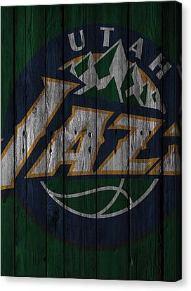 Utah Jazz Wood Fence Canvas Print by Joe Hamilton