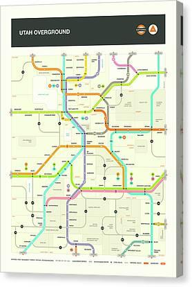 Utah Art Canvas Print - Utah Map by Jazzberry Blue