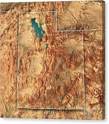 Canvas Print - Utah State Usa 3d Render Topographic Map Border by Frank Ramspott