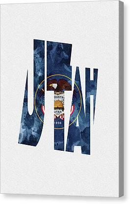 Utah Art Canvas Print - Utah Typographic Map Flag by Inspirowl Design