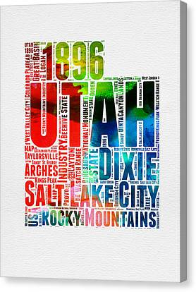 Utah Watercolor Word Cloud Map Canvas Print by Naxart Studio