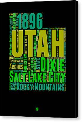 Utah Word Cloud Map 1 Canvas Print by Naxart Studio