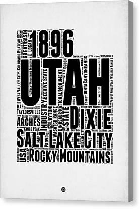Utah Word Cloud Map 2 Canvas Print by Naxart Studio