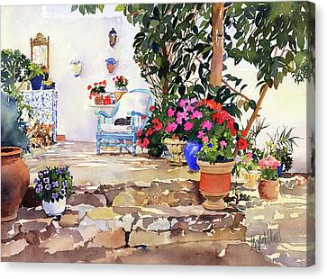 Utes Garden With Flowers And Pots Canvas Print