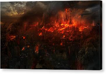 Explosion Canvas Print - Utherworlds Reckoning Day by Philip Straub