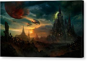 Destruction Canvas Print - Utherworlds Sosheskaz Falls by Philip Straub