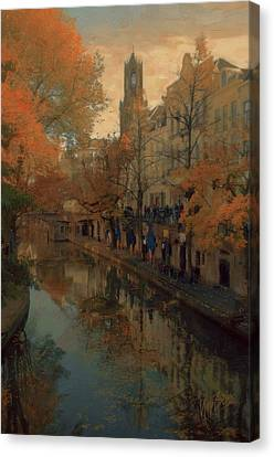 Utrecht In Autumn Canvas Print by Nop Briex