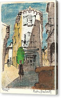 Canvas Print featuring the painting Uzes Provence by Martin Stankewitz