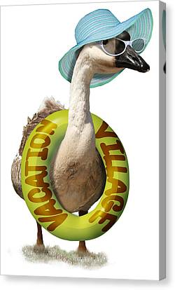 Vacation Time For Summer Goose Canvas Print