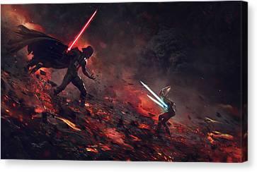 Vader Vs Ahsoka Canvas Print by Guillem H Pongiluppi