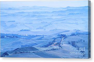 Val D'orcia In The Frost Canvas Print by Alessandro Landi