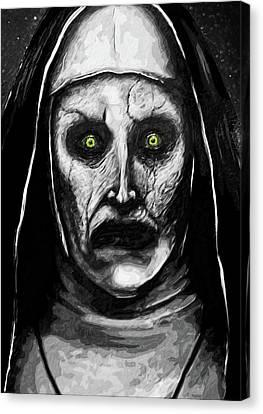 Canvas Print featuring the digital art Valak The Demon Nun by Taylan Apukovska