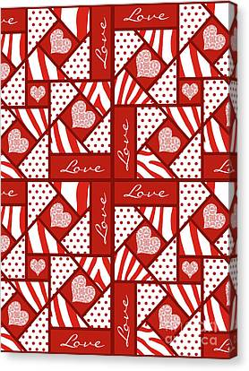 Block Quilts Canvas Print - Valentine 4 Square Quilt Block by Methune Hively