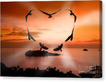 Valentine Bird Canvas Print by Anek Suwannaphoom