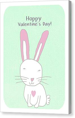 Valentine Bunny- Art By Linda Woods Canvas Print by Linda Woods