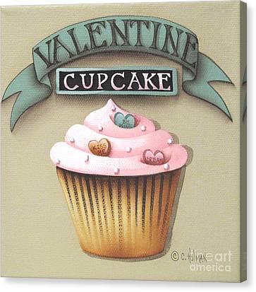 Valentine Cupcake Small Canvas Print by Catherine Holman