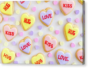 Canvas Print featuring the photograph Valentine Heart Cookies by Teri Virbickis