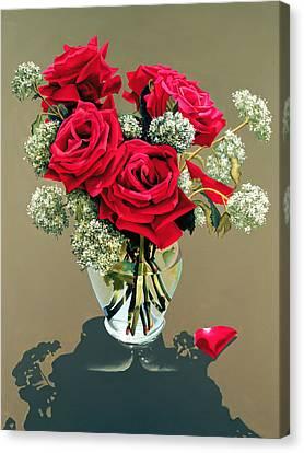 Valentine Roses Canvas Print by Ora Sorensen