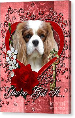 Valentines - Key To My Heart Cavalier King Charles Spaniel Canvas Print by Renae Laughner