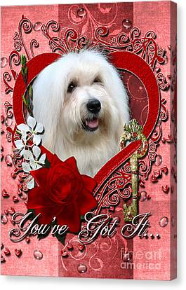 Valentines - Key To My Heart Coton De Tulear Canvas Print by Renae Laughner