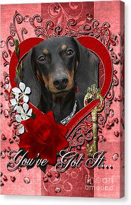 Valentines - Key To My Heart Dachshund Canvas Print