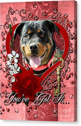 Valentines - Key To My Heart Rottweiler Canvas Print by Renae Laughner
