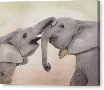 Valentine's Day Elephant Canvas Print by Annie Poitras
