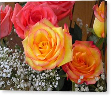 Canvas Print featuring the painting Valentine's Day Roses 2 by Renate Nadi Wesley