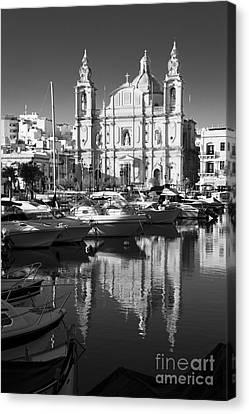 White Maltese Canvas Print - Valletta Marina Reflections  by Rob Hawkins