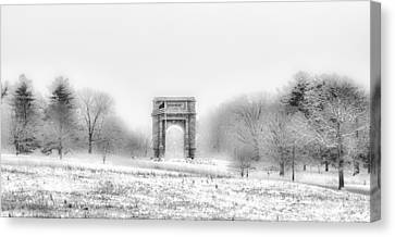 Valley Forge Arch In Black And White - Winter Scene  Canvas Print by Bill Cannon