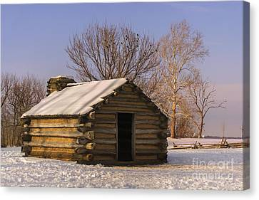 Valley Forge Cabin At Sunset Canvas Print by Rima Biswas
