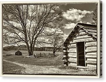 Valley Forge Military Cabin Canvas Print by David Zanzinger
