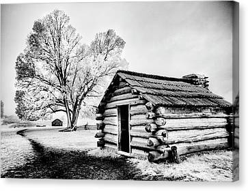Canvas Print featuring the photograph Valley Forge Winter Troops Hut                           by Paul W Faust - Impressions of Light