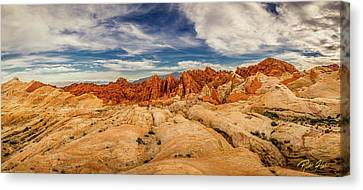 Canvas Print featuring the photograph Valley Of Fire Panorama by Rikk Flohr
