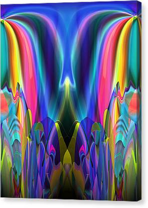 Canvas Print featuring the digital art Valley Of The Mythic Waterfall by Lynda Lehmann