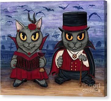Vampire Cat Couple Canvas Print