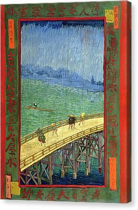 Van Gogh Bridge In Rain After Hiroshige Canvas Print by Vincent Van Gogh